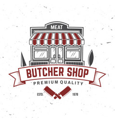 Butcher meat shop badge or label with kitchen vector