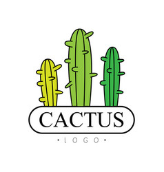 Cactus logo badge with desert plants vector