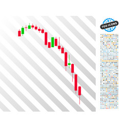 Candlestick falling acceleration chart flat icon vector