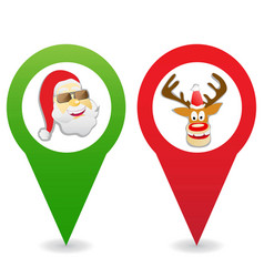 cartoon christmas map pin icons vector image