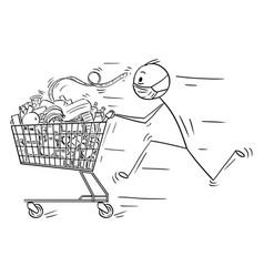 Cartoon man wearing face mask running and vector