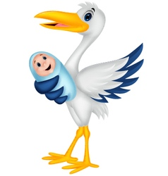 Cartoon stork with baby vector image