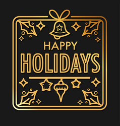 christmas holiday greeting card with gold vector image