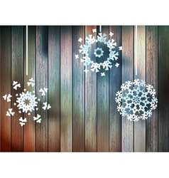 Christmas snowflakes on wood plus EPS10 vector image