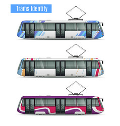 city tram cars collection vector image