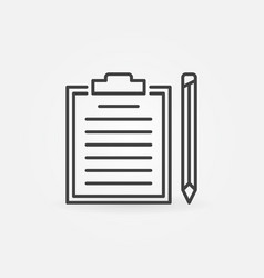 clipboard with pencil outline simple icon vector image