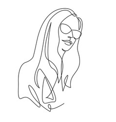 Continuous one line drawing woman face in glasses vector