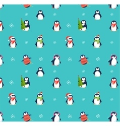 Cute penguins pattern - Merry Christmas greetings vector