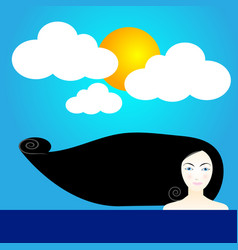 Cute woman with sun at day vector