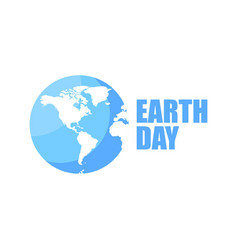 earth day logo design 22 april blue and white vector image