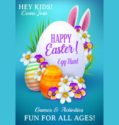 easter holiday flyer with cute rabbit ears vector image