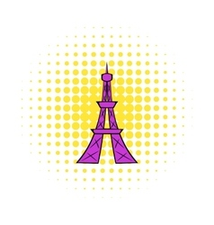 Eiffel Tower icon comics style vector image
