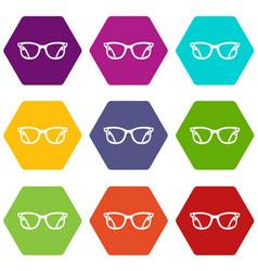 eyeglasses icon set color hexahedron vector image