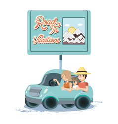 Family in car travel vacations vector