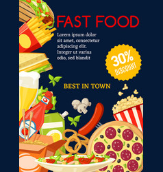 fast food meal combo special offer vector image