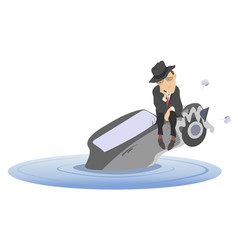 flood man and sinking car isolated vector image