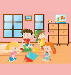 Four kids folding airplane paper in group vector