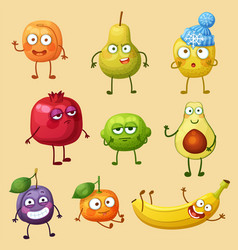 Funny fruit characters isolated on background vector