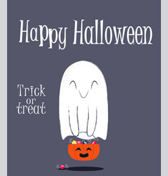 halloween background with ghost holding pumpkin vector image