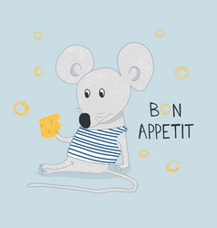 hand drawn funny mouse with cheese with hand drawn vector image