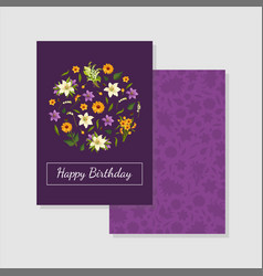 happy birthday purple card template with floral vector image