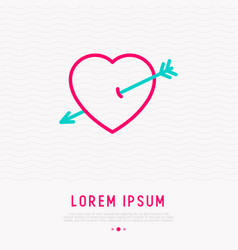 heart with arrow thin line icon vector image