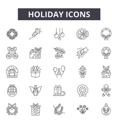 holiday line icons signs set outline vector image