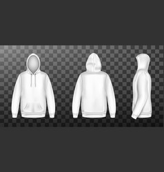 Hoody white sweatshirt mock up front side back set vector