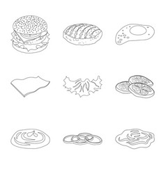 isolated object of burger and sandwich sign set vector image