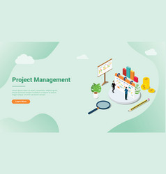 isometric 3d project management concept for vector image
