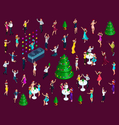 Isometrics celebrating christmas a lot of 3d men vector
