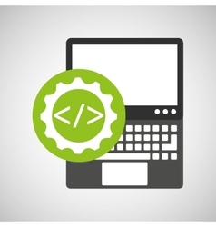 laptop technology coding web icon vector image