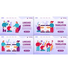 Learning language online translator webpage set vector