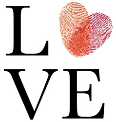 love with red fingerprint heart vector image