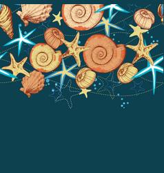 Marine life summer background seashells vector
