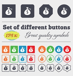 Money bag icon sign Big set of colorful diverse vector