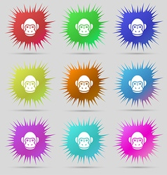Monkey icon sign A set of nine original needle vector image