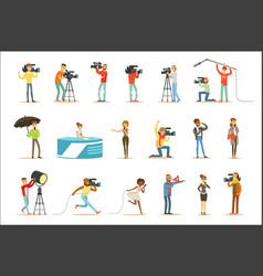 News program crew professional cameramen and vector