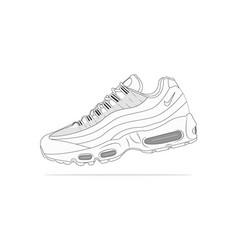 Nike air max 95 blanco sneakers vector