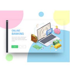 Online bank website design vector