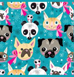 pattern portraits animals vector image