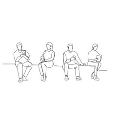 People with gadgets continuous line art vector