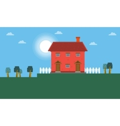 Red house landscape vector
