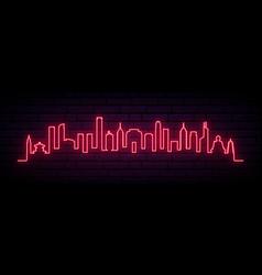 red neon skyline hong kong city bright hong vector image