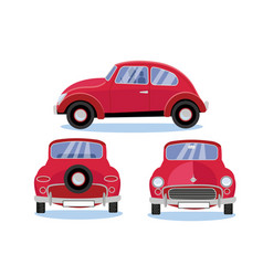 red retro car automobile set in three different vector image
