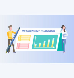 retirement planing card finance or money vector image