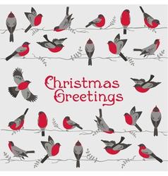 Retro Christmas Card - Winter Birds vector