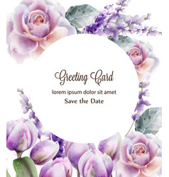 Rose and tulips card watercolor spring summer vector