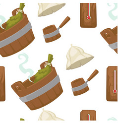 sauna with wooden bucket and leaves seamless vector image