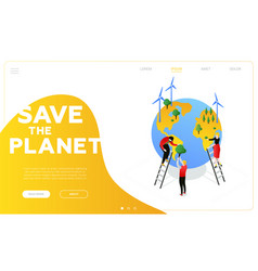 save the planet - modern colorful isometric vector image
